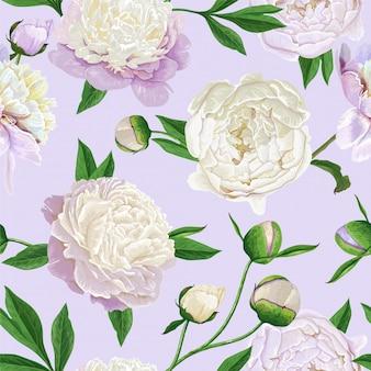 牡丹とシームレスな花柄