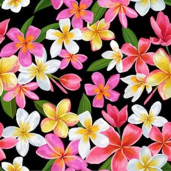 熱帯の花のシームレスパターン