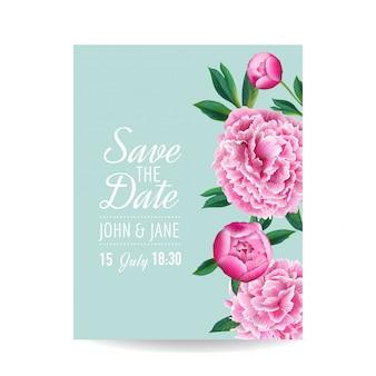 花の結婚式の招待状日付カードを保存する