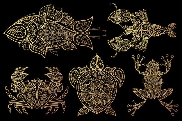 動物のセット魚、ロブスター、カニ、ウミガメ、カエル