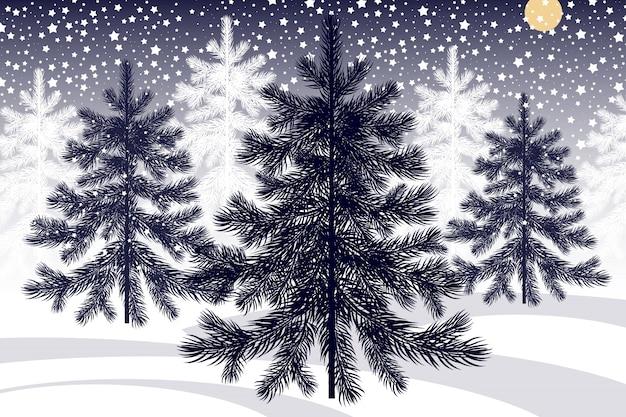 クリスマスツリーと冬の森の風景。