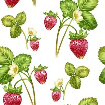 花とイチゴのシームレスなパターンベクトル。