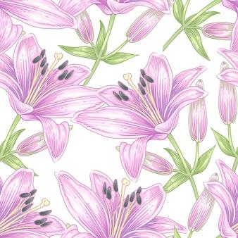 ユリの花とのシームレスなパターンベクトル。