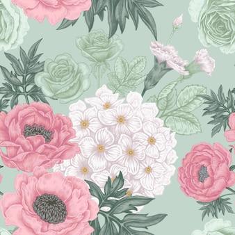 花バラ、シャクヤク、アジサイ、カーナットのシームレスパターン