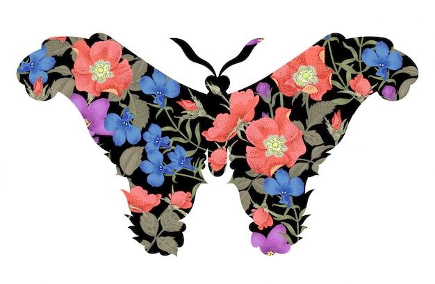花のシルエットの蝶。
