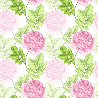 バラと花のシームレスなパターン。