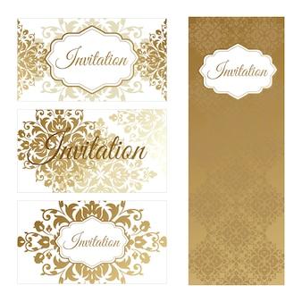 名刺と招待状のテンプレートのセット。