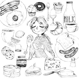 朝ごはん。手描きの食べ物や飲み物。女の子は朝食をとります。