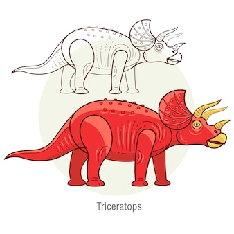 恐竜トリケラトプス。