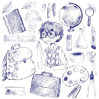 Набор канцелярских товаров для школы и ученика.