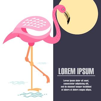 Шаблон постера с изображением фламинго.