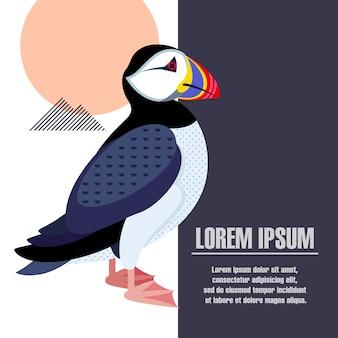鳥のツノメドリのイメージを持つテンプレートポスター。