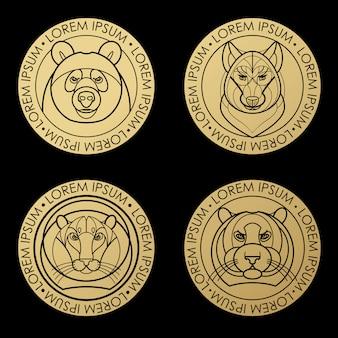 Линейная голова тигра, льва, волка, медведя.
