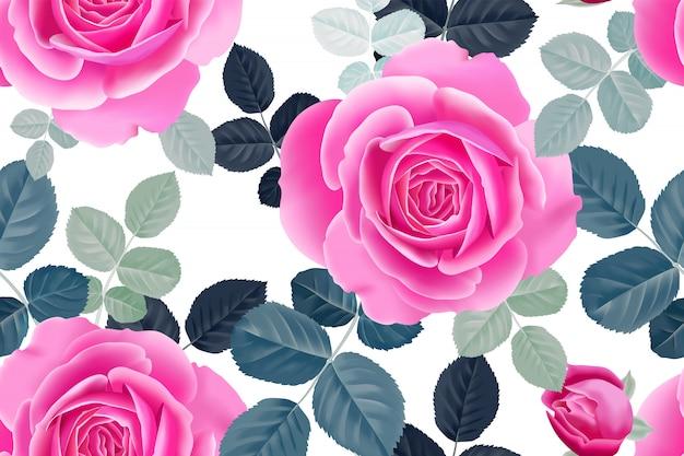 Бесшовный цветочный узор с розовыми розами.