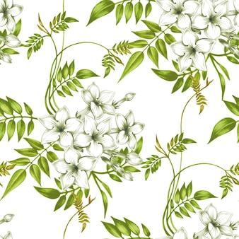 ジャスミンの花を持つベクトルシームレス花柄。