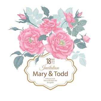 バラとベクトル結婚式招待状のテンプレート。
