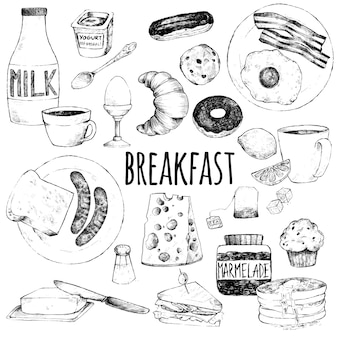 Каракули набор еды на завтрак