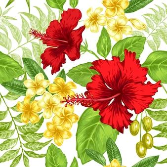 エキゾチックな花とのシームレスな背景。