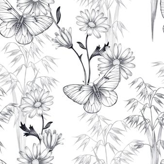 Бесшовный цветочный узор с бабочками.