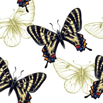 Бесшовный фон с бабочками.