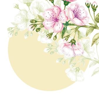Безшовная картина с вишневым цветом.