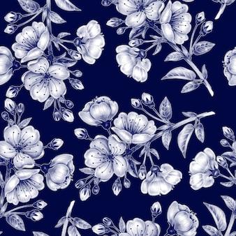 桜とのシームレスなパターン。