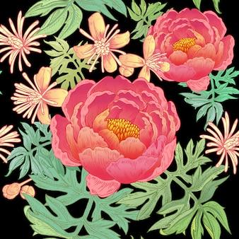 Цветочный фон с пионами.