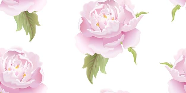 Бесшовный цветочный узор с пионом.