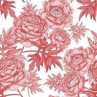 Бесшовный фон с цветами роз, пионов.