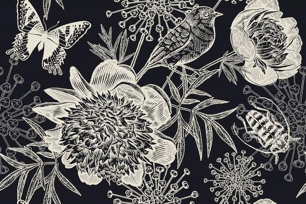 黒と白の花のシームレスな背景。牡丹、鳥、カブトムシ、蝶。ビンテージ。