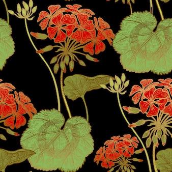 Цветы герани. бесшовный цветочный узор