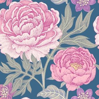 花牡丹とのシームレスなパターン。