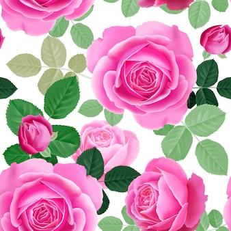 ピンクのバラとのシームレスな花柄。