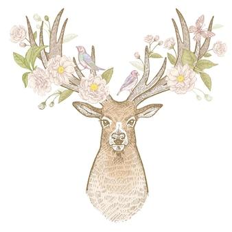 Голова оленя с рогами винтажные иллюстрации цветущих.