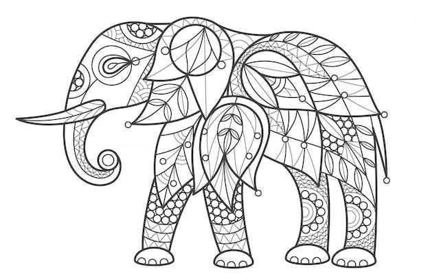 Раскраска для взрослых. слон.