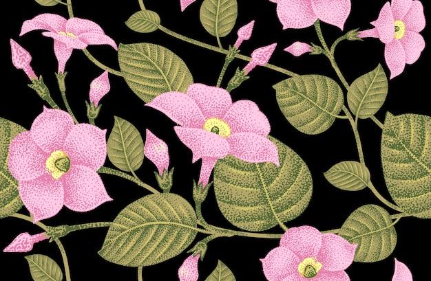 花とのシームレスなパターンベクトル。