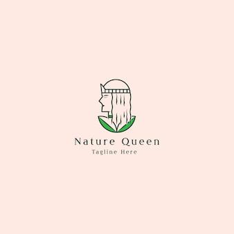 Минималистский логотип с красотой леди и листьев