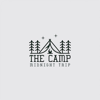 ラインアートとキャンプのロゴ