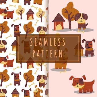 手描きのシームレスパターンかわいい犬