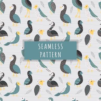 シームレスパターンのかわいい鳥の手描きスタイル