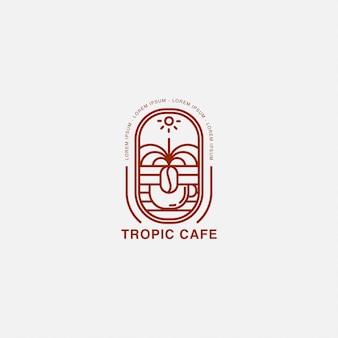 カップと熱帯の土地のロゴとカフェ