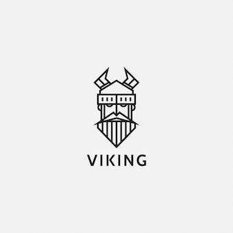 Логотип или логотип плоская линия искусства викингов