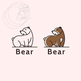 Минималистичный плоский медведь с комбинацией круговых форм