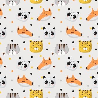 Бесшовные шаблон милых животных