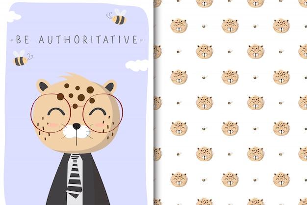 Милая иллюстрация леопарда с безшовной картиной на белом фоне