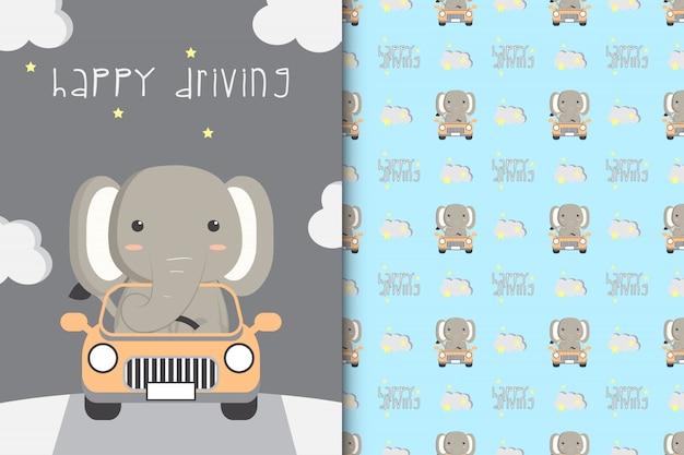 Милая иллюстрация слона управляя автомобилем с безшовной картиной на белом фоне