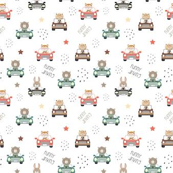 Бесшовные скороговорка милых животных за рулем автомобиля на белом фоне