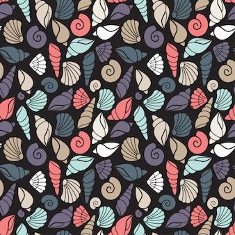 暗い背景、海洋の背景で貝殻の概念とのシームレスなパターン。