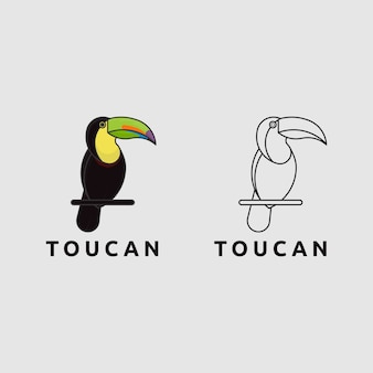 Значок логотипа птица тукан