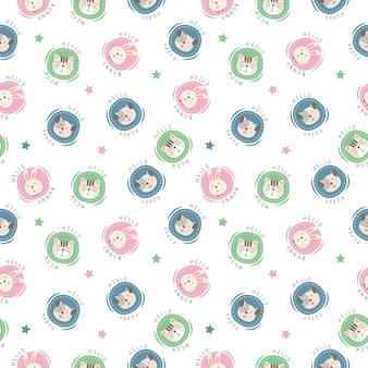 水玉スタイルの頭の動物のかわいいパターン